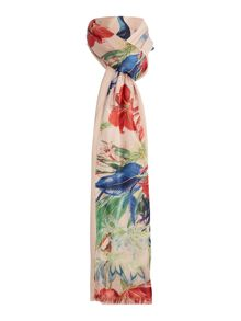 Linea BIRD PRINT SATIN STRIPE SCARF