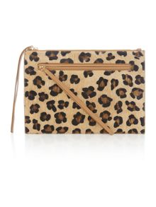 Village England Thurlaston leopard zip pouch clutch bag