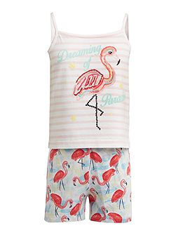 Girls Flamingo pjs set