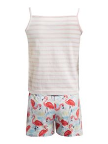 Little Dickins & Jones Girls Flamingo PJs set