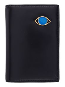 Lulu Guinness Dora face black passport case