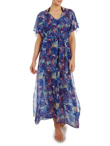 Biba Midnight Rainforest Cold Shoulder Maxi