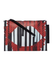 Lulu Guinness Grace multi-coloured medium stripe pouch