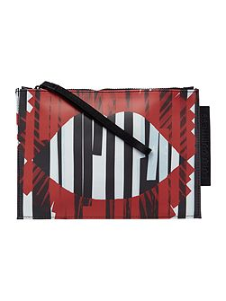 Grace multi-coloured medium stripe pouch