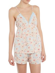 Cyberjammies Peony print shorts and cami pj set