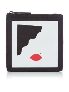 Lulu Guinness Icon abstract face white pouch