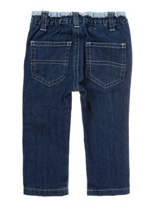 Benetton Boys Denim jeans with gingham waistband