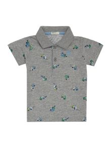 Boys car print short sleeved polo