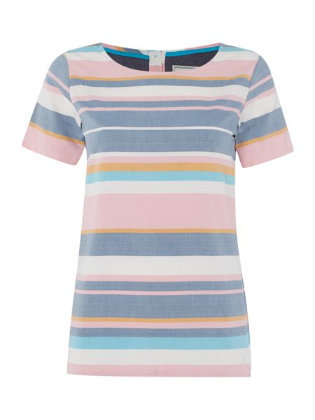 Brakeburn Striped woven short sleeve top