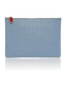 Lulu Guinness Grace light blue weave medium pouchette