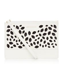Lulu Guinness Grace white perforated medium pouch clutch bag