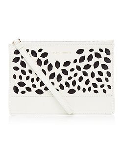 Grace white perforated medium pouch clutch bag