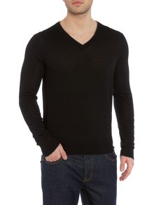Michael Kors Regular Fit Tipped V-Neck Wool Jumper