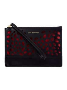 Lulu Guinness Grace black perforated medium pouch clutch bag