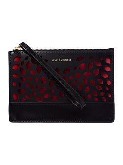 Grace black perforated medium pouch clutch bag