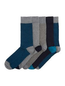 Linea 5 Pack Patterend Socks