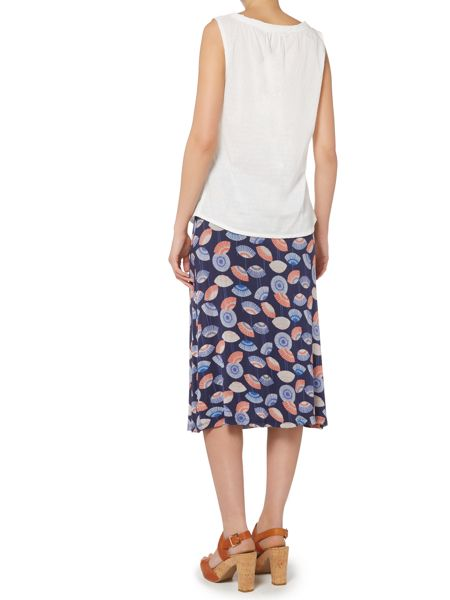 LILY & ME Shell print jersey midi skirt