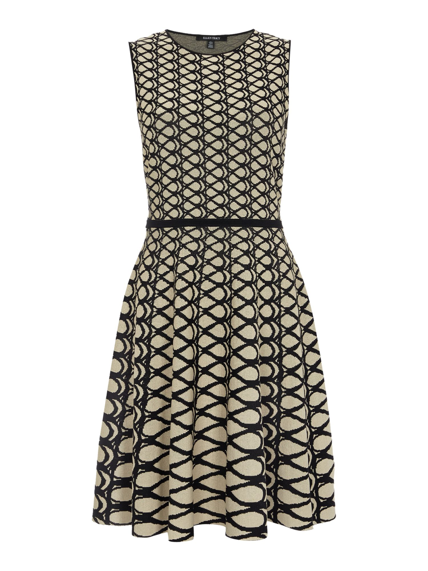 Ellen Tracy Jacquard fit and flare dress, Latte