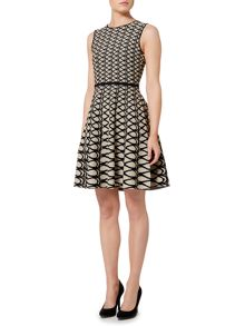 Ellen Tracy Jacquard fit and flare dress