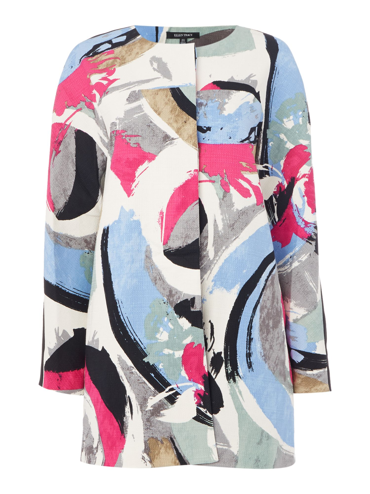 Ellen Tracy Hopsack printed lady coat, Multi-Coloured