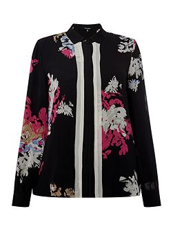 Layered placket front blouse