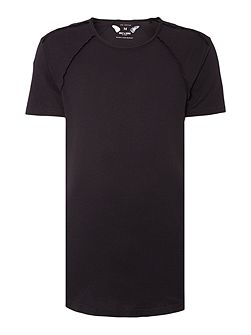 Long Line Exposed Seam Short Sleeve T-shirt