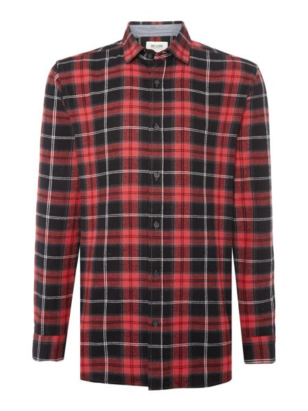 Only & Sons Windowpane Check brushed Long Sleeve Shirt