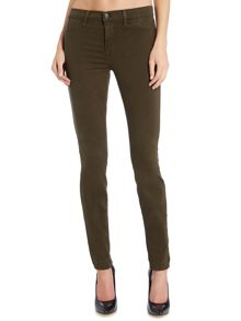 Mid rise luxe sateen skinny jean in camo green