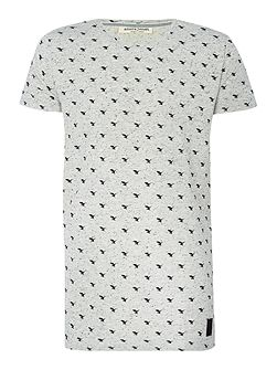 Regular fit all over hawk print t shirt