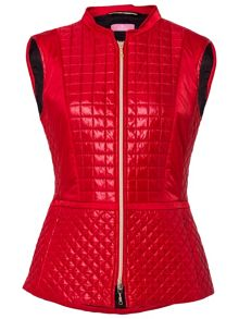 Basler Red Padded Gilet With Check Stitch Detail