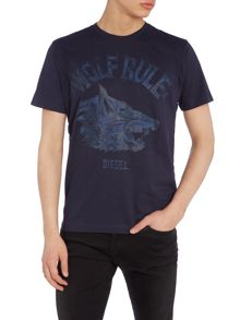 Diesel T-Joe regular fit wolf rule t shirt
