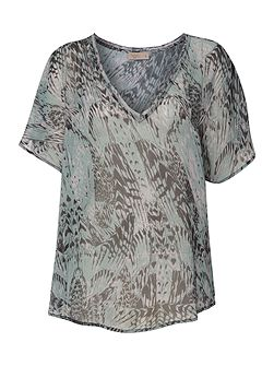 Label Lab Feather print cross over bk blouse