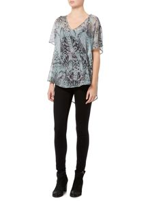 Label Lab Feather print cross over back blouse
