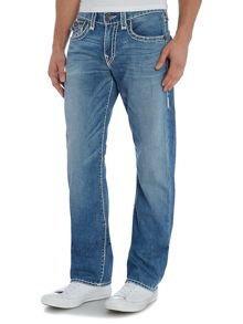 True Religion Ricky Straight Leg Light Wash W/ Flap Jeans