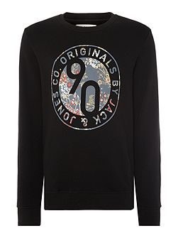 Circle Floral logo Crew Neck Sweatshirt