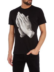 Diesel T-Joe Regular fit praying hands printed t shirt