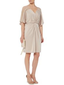 Biba Knot front mesh panel luxe dress
