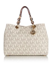 Michael Kors Cynthia neutral logo tote bag