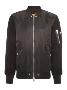 Diesel J-kitten suede sleeved zip through bomber jacket