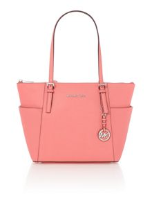 Michael Kors Jetset item coral zip top tote bag