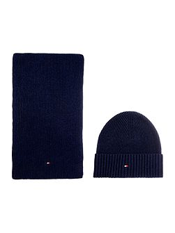 Cotton and cashmere scarf and beanie