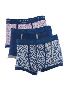 Ted Baker 3pk Zigzag mixed print and plain trunk boxers