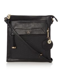 Isabella black medium cross body bag