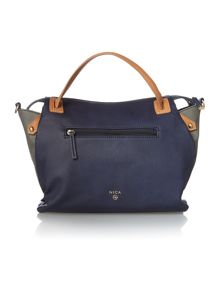 Emma navy medium cross body tote bag