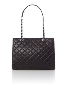 Susannah black quilted tote bag
