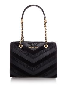 Susannah black chevron tote bag