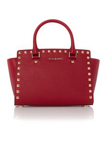 Selma stud red tote bag