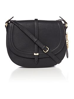 Millie black medium flap over cross body bag