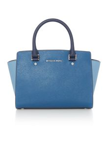 Michael Kors Selma tri colour blue tote bag
