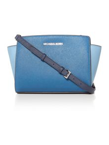 Michael Kors Selma blue multi crossbody bag